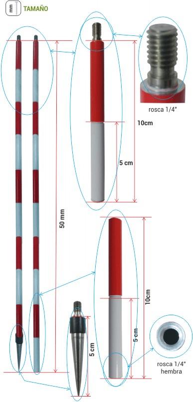 Comprar Mini jalón para mini prismas de 1,5 metros de longitud,